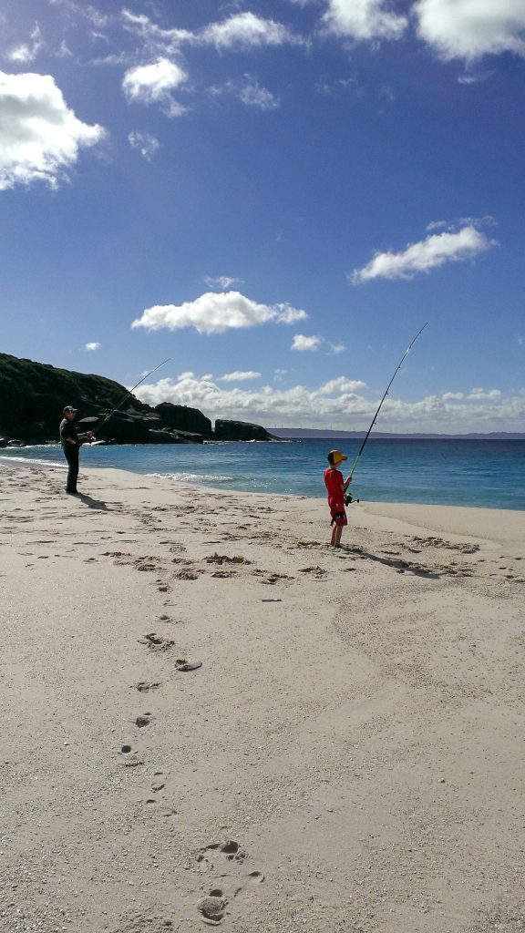 Salmon fishing at Shelley Beach