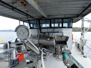 Mussel harvesting barge, Oyster Bay